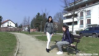 Three Mr Big cute teen girls look into their pussies with fingers